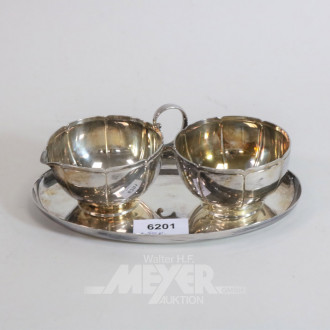 Zucker-/Rahmset, 925er Silber, 3 teilig,