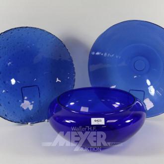 3 div. Glasschalen blau, versch. Grüßen