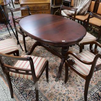 Tischgruppe, Mahagoni, 8-tlg. best. aus: