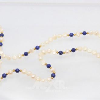 lange Perlenkette mit Lapis-Zwischen-