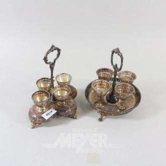 2 versch. Eierbecherständer, Plated