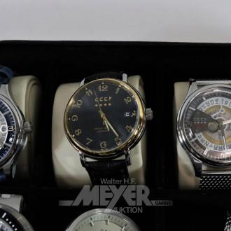 10 versch. Armbanduhren CCCP, ungertragen
