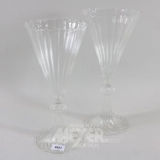 Paar Glasvase, H.: 34 cm