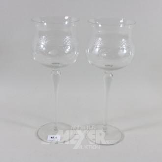 Paar Vasen, Weinglasform, H.: 36 cm