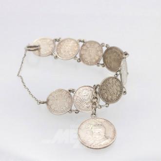 Münzarmband, Silber, ca. 39 g.,