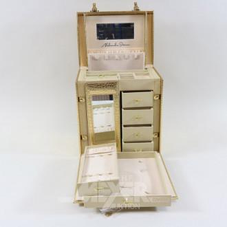 Schmuck-Koffer, Lederimitat Gold