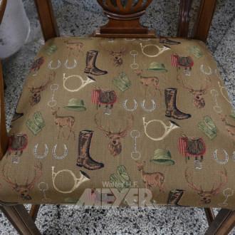 6 Esstischstühle, Gestell Nußbaum,
