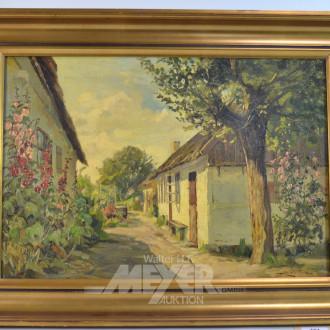 Gemälde ''Häuser mit Stockrosen''