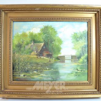Gemälde ''Gehöft am See''