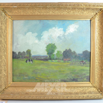 Gemälde ''Pferde und Kühe auf der Weide''