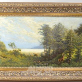 Gemälde ''Küste mit Wald und Rotwild''