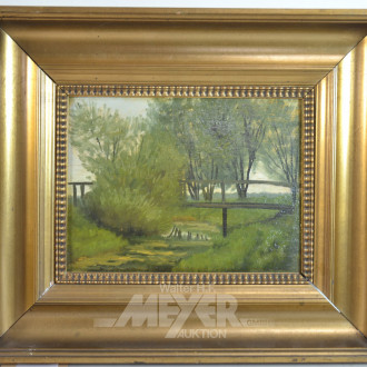 kl. Gemälde ''Parklandschaft mit Brücke''