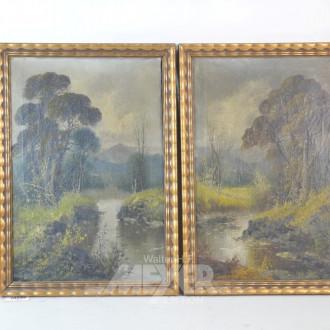 2 Gemälde ''Wald mit Bachlauf'' unsigniert