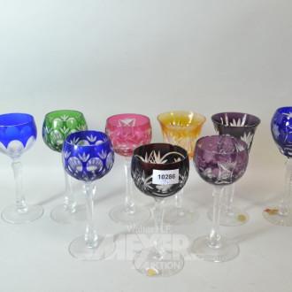 9 versch. farbige Kristall-Römer